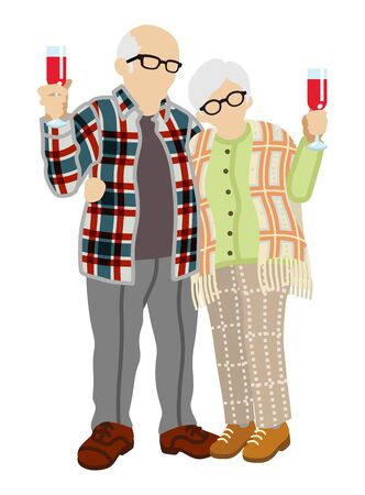 senior couple: Senior couple toasting with wine