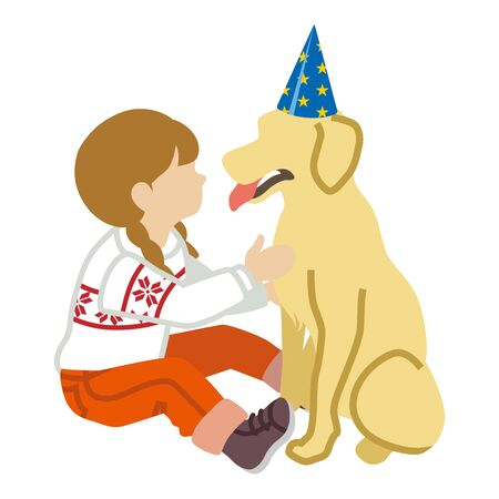 Girl and Dog -party hat