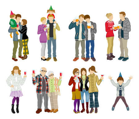 two generation family: Party people set - Multi Generation Illustration