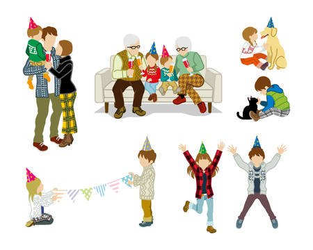 unrecognizable person: Party people set - Children and family Illustration