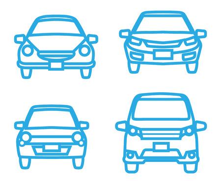 front view: Car icon set - Front view, Blue line