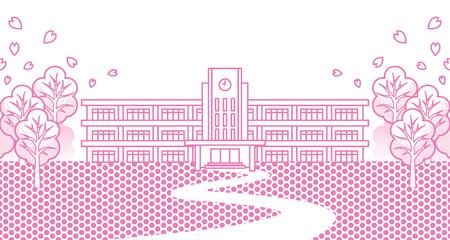 springtime: High School Building in Springtime,Cartoon