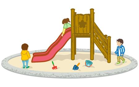 spring out: Children play on a slide Illustration