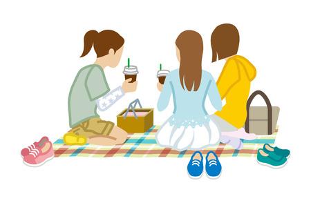 Picnic three girls 矢量图像