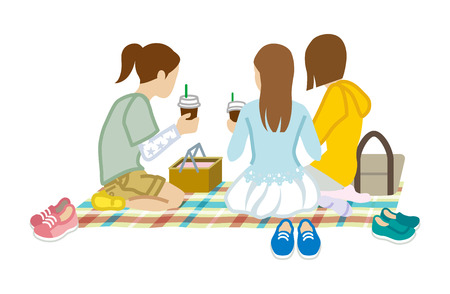 Picnic three girls Illustration
