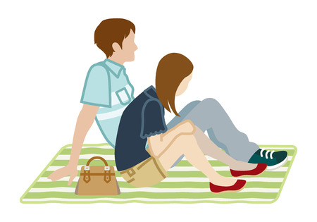 full length woman: Picnic couple - Side view