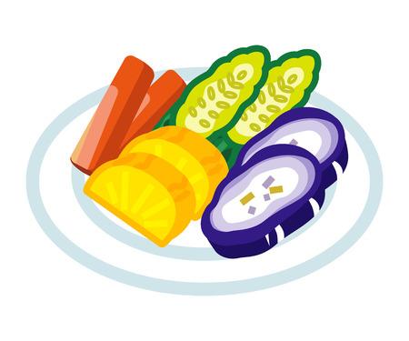 pickled: Japanese Pickled Vegetable illustration.