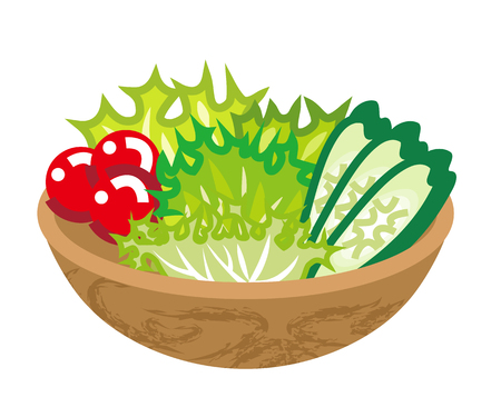 Salad in a bowl illustration.