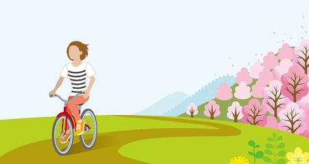 봄 날에 여자 사이클링 - 빗 머리 일러스트