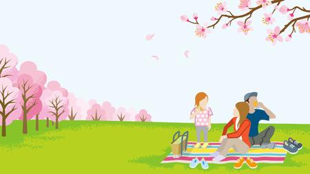 春の自然の家族のピクニック