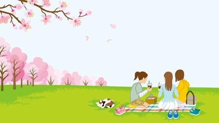 Three girls picnic in spring nature Illustration