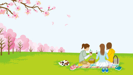 Three girls picnic in spring nature Illustration