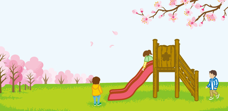Children playing on a slide -spring nature