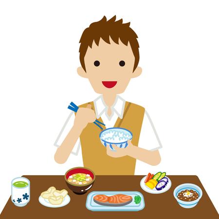 Schoolboy eating Japanese breakfast Illustration