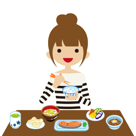 Young woman eating Japanese breakfast Stock Illustratie