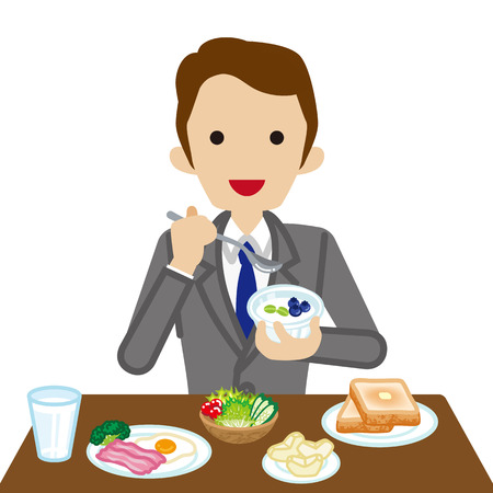 waist up: Businessman eating  Breakfast Illustration