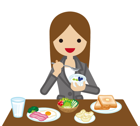 Businesswoman eating  Breakfast
