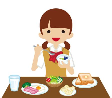 toasted bread: Schoolgirl eating  Breakfast Illustration