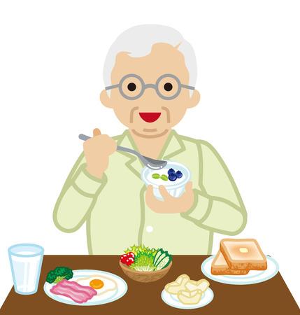 toasted bread: Senior Men eating  Breakfast
