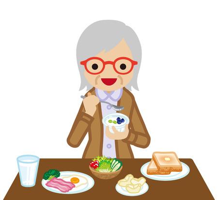 Senior Women eating  breakfast
