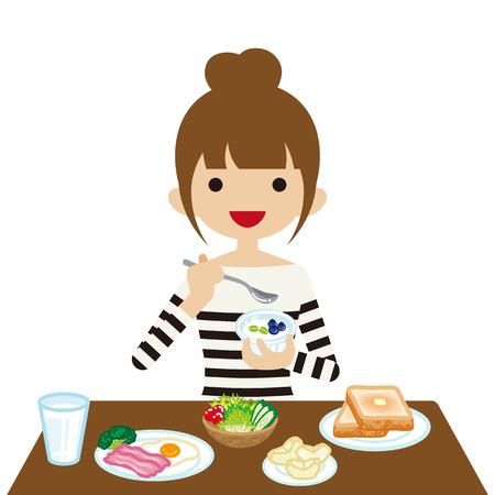 Giovane donna che mangia prima colazione Vettoriali