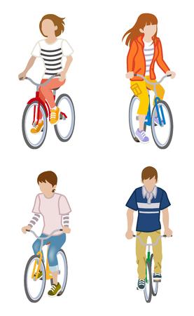 long sleeved: Four Cyclist set - clip art