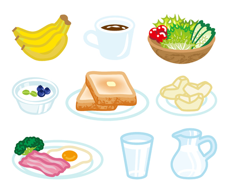 toasted: Isolated food set for Breakfast Illustration