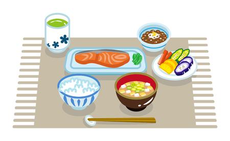 Breakfast set- japanese Illustration