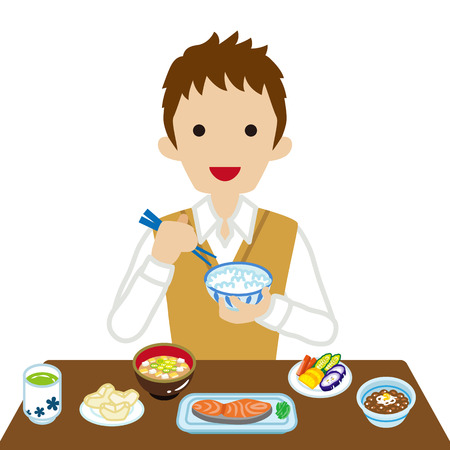 sleeved: Schoolboy eating Japanese breakfast - Long Sleeved Illustration