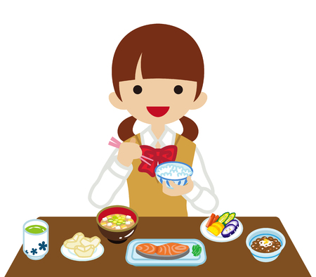 sleeved: Schoolgirl eating Japanese breakfast- Long Sleeved Illustration