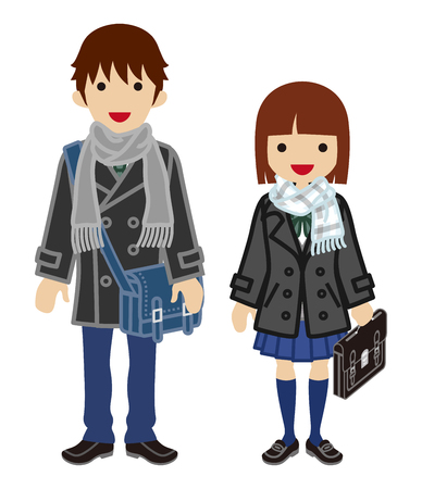 Winter fashion Student Couple -Bobbed hair