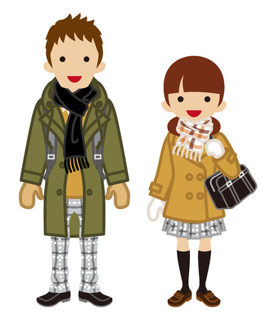 couple winter: Winter fashion Student Couple -Pigtails
