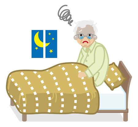 Gli anziani soffrono di insonnia Vettoriali