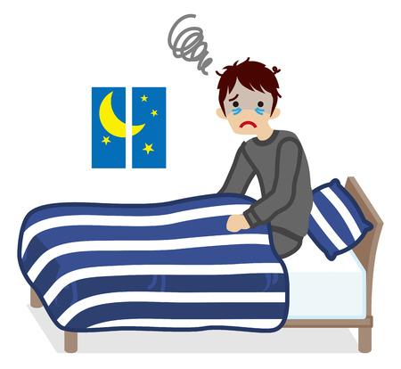 bedclothes: Men  suffers Insomnia- Navy blue color Bedclothes Illustration