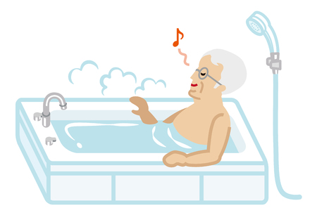 Senior Men taking a bath Illustration