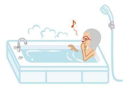 Senior Women taking a bath
