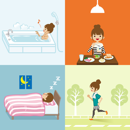woman lying in bed: Healthy lifestyle of young women set Illustration