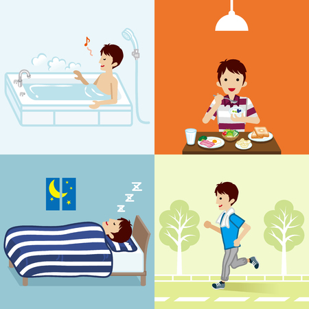 Healthy lifestyle of young man set Illustration