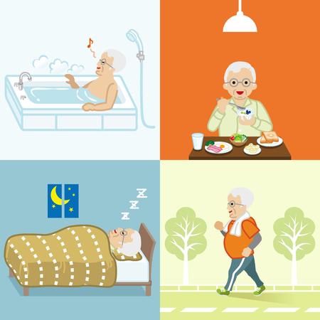 Healthy lifestyle of senior men set