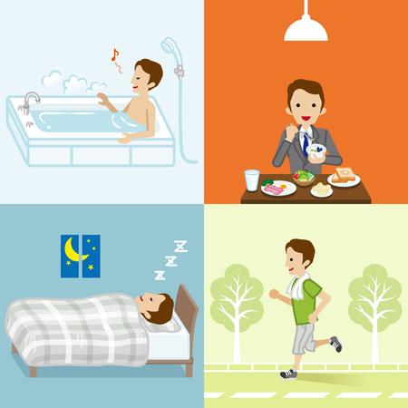 Healthy lifestyle set of businessman
