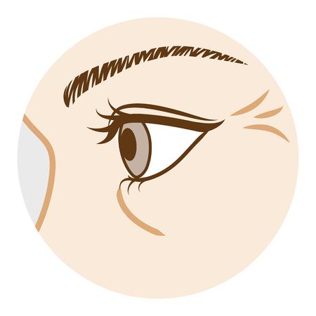 目のしわ、-体の部分、横から見た図  イラスト・ベクター素材