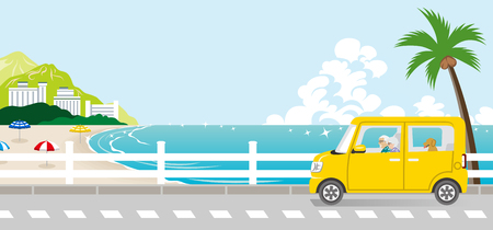 Summer drive in the Seaside street - Senior couple Illustration