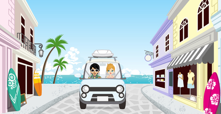 Couple driving in the Seaside town