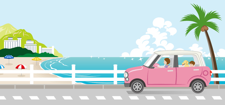 Summer drive in the Seaside street - Mother and son with dog Illustration