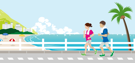 Running young couple in the Summer Seaside street