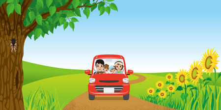 Family driving in Summer nature