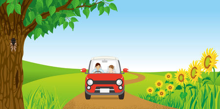 summer nature: Couple driving in Summer nature