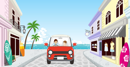 Anonymous Couple driving in the Seaside town