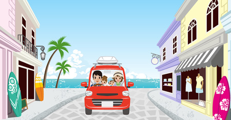 Family driving in the Seaside town Illustration