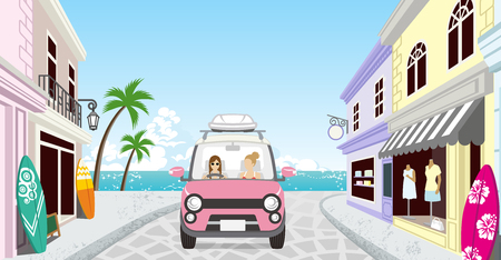 Two women driving in the Seaside town